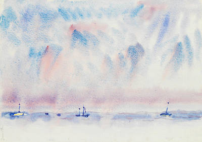 Drawing - Bermuda Sky And Sea With Boats by Charles Demuth