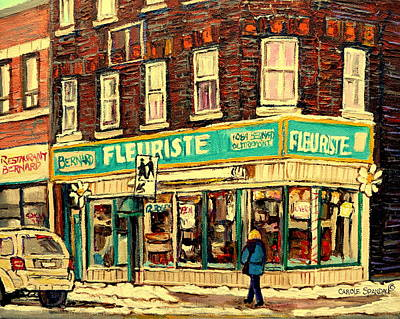 Montreal Winterscenes Painting - Bernard Florist by Carole Spandau