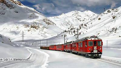 Photograph - Bernina Winter Express by Anthony Dezenzio