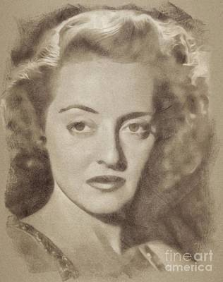 Musicians Drawings - Bette Davis Vintage Hollywood Actress by John Springfield