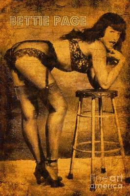 Burlesque Painting - Bettie Page, Pin Up Artist by Frank Falcon