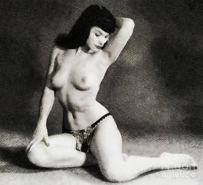 Nudist Painting - Bettie Page, Pinup Model by John Springfield