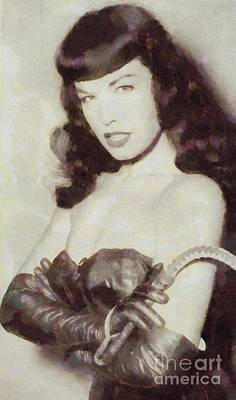 Burlesque Painting - Bettie Page Pinup Star by Frank Falcon