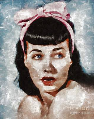Bettie Page Painting - Bettie Page Pinup Star by Mary Bassett