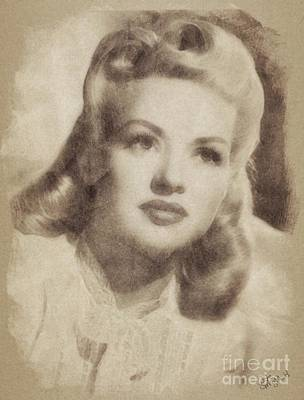 Musicians Drawings Rights Managed Images - Betty Grable Vintage Hollywood Pinup Royalty-Free Image by Esoterica Art Agency