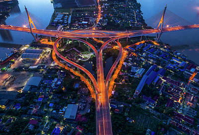 Photograph - Bhumibol Bridge Aerial View At Sunrise by Pradeep Raja PRINTS