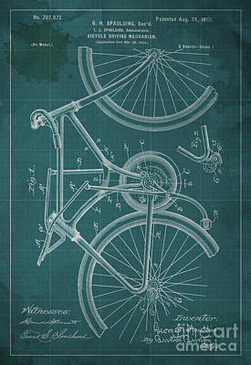 Motorcycle Painting - Bicycle Driving Mechanism Patent Year 1902 by Pablo Franchi