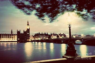 Photograph - Big Ben, London The Uk At Sunset. Retro Street Lamp Light On Westminster Bridge. Vintage by Michal Bednarek