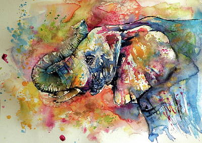 Yellow Painting - Big Colorful Elephant by Kovacs Anna Brigitta