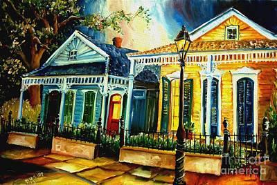 New Orleans Shotgun Houses Painting - Big Easy Neighborhood by Diane Millsap