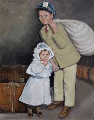 Ellis Island Painting - Big Sister And Little Brother by Sandra Nardone
