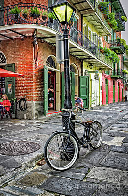 Bike And Lamppost In Pirate's Alley Art Print by Kathleen K Parker