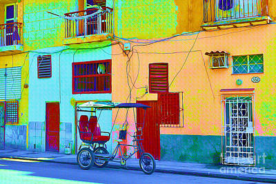 Dilapidated Mixed Media - Bike Taxi - Havana Cuba by Chris Andruskiewicz
