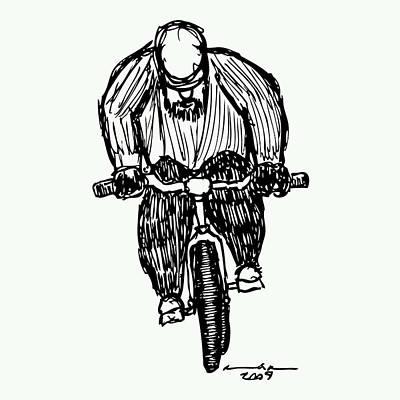 Bike Drawing - Biking Man by Karl Addison
