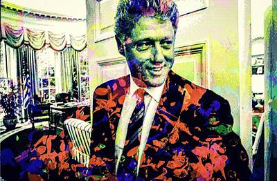 Mixed Media - Bill Clinton by Svelby Art