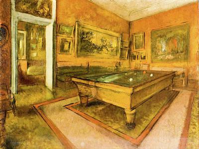 Billiards Painting - Billiard Room At Menil Hubert by Edgar Degas