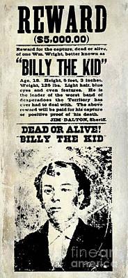 Billy The Kid Wanted Poster Art Print by Jon Neidert