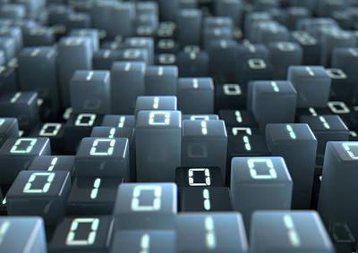 Cyberspace Digital Art - Binary Code Pixels by Allan Swart