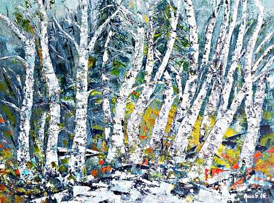 Painting - Birches Pond by AmaS Art