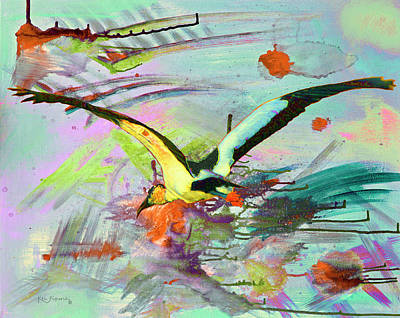 Parakeet Mixed Media - Bird In Flight Modern Art  by Ken Figurski