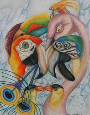 Birds  Art Print by Andrea  Darlington