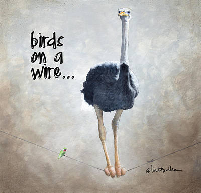Ostrich Wall Art - Painting - Birds On A Wire... by Will Bullas