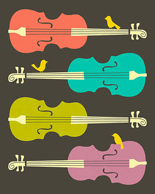 Pop Surrealism Digital Art - Birds On Cello Strings by Jazzberry Blue