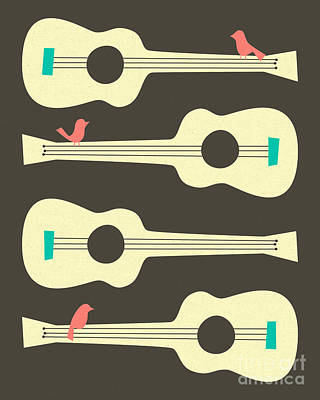 Retro Digital Art - Birds On Guitar Strings by Jazzberry Blue