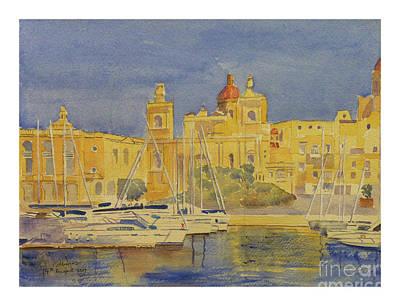Painting - Birgu Waterfront by Godwin Cassar