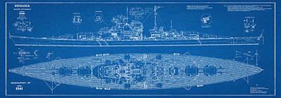 Bismarck - Part 01 Of The Ship Plans. Iconic World War II Battleship Of The Kriegsmarine Art Print by Jose Elias - Sofia Pereira