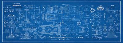Battleship Digital Art - Bismarck - Part 04 Of The Ship Plans. Iconic World War II Battleship Of The Kriegsmarine by Jose Elias - Sofia Pereira