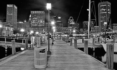 Photograph - Black And White Harbor Lights by Frozen in Time Fine Art Photography