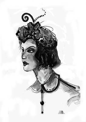 Mixed Media - Black And White Watercolor Fashion Illustration by Marian Voicu