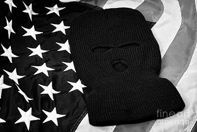 Balaclava Photograph - Black Balaclava Ski Mask Lying On United States Of America Flag by Joe Fox