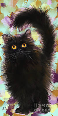 Persian Cat Wall Art - Painting - Black Cat by Melanie D
