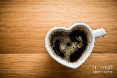 Photograph - Black Coffee, Espresso In Heart Shaped Cup. Love, Valentine's Day, Vintage by Michal Bednarek