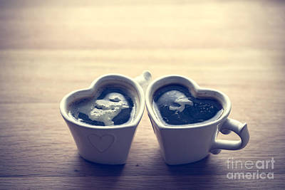 Retro Photograph - Black Coffee, Espresso In Two Heart Shaped Cups.. Love, Valentine's Day, Vintage by Michal Bednarek