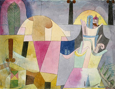 Drawing - Black Columns In A Landscape by Paul Klee