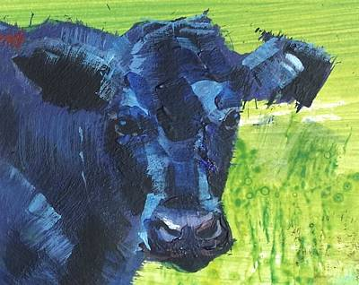 Painting - Black Cow Head by Mike Jory