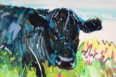 Painting - Black Cow Head Painting by Mike Jory
