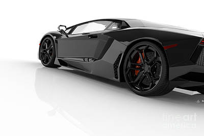 Tired Photograph - Black Fast Sports Car On White Background Studio by Michal Bednarek