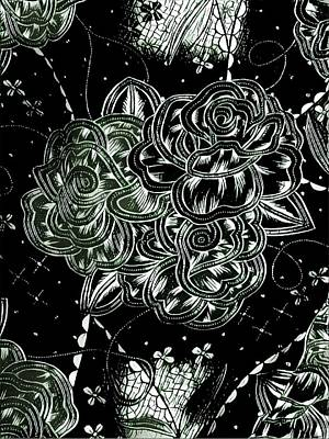 Digital Art - Black Flower by Theresia Kwee