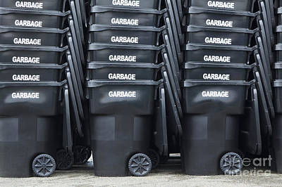 Black Garbage Bins Art Print by Don Mason