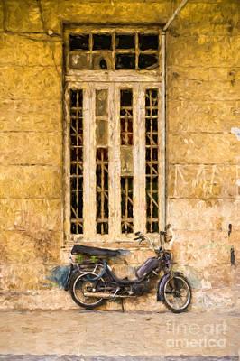 Photograph - Black Moped by Les Palenik