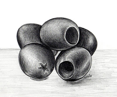 Macro Drawing - Black Olives by Nancy Mueller