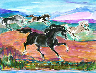 Art Print featuring the painting Black Pony by Mary Armstrong