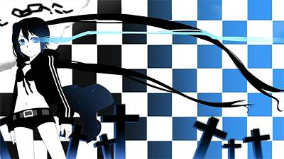 Pattern Digital Art - Black Rock Shooter by Maye Loeser