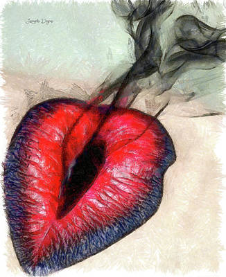 Lips Painting - Black Smoke - Pencil Style by Leonardo Digenio