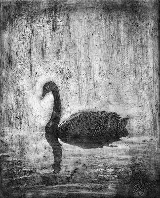 Swan Mixed Media - Black Swan by Roseanne Jones