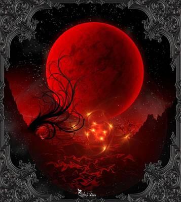 Digital Art - Blood Moon by Ali Oppy